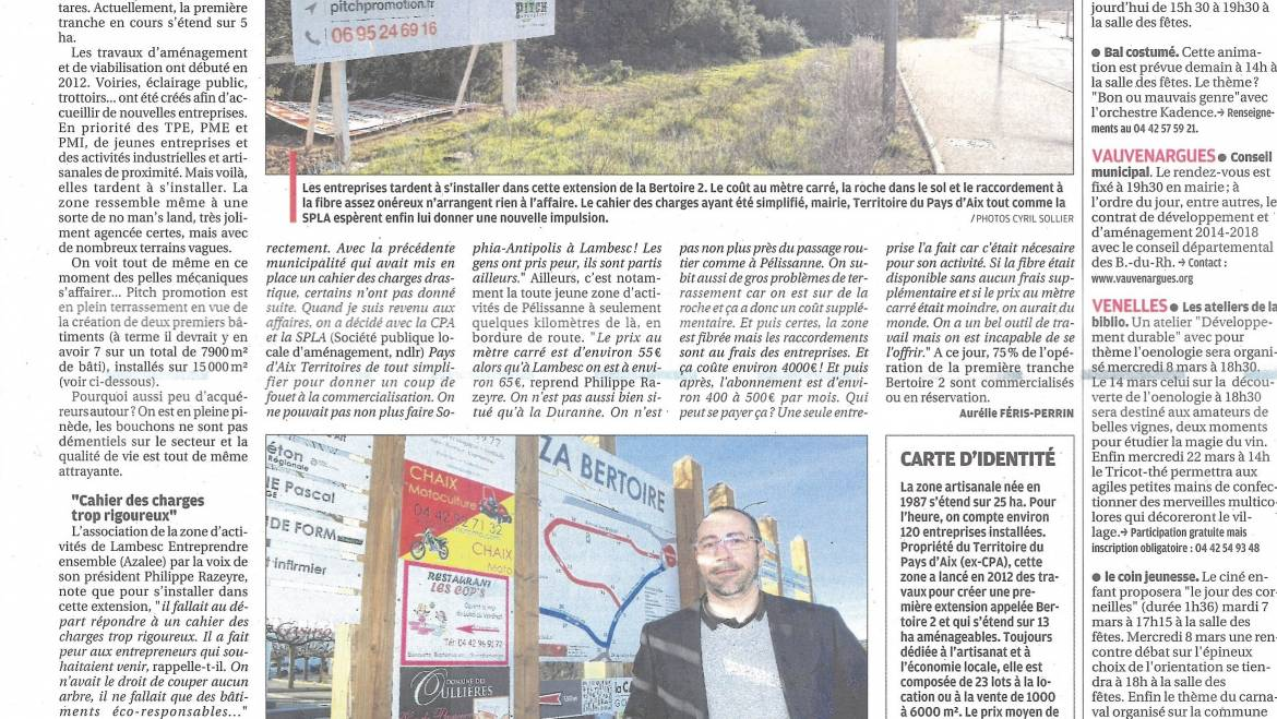 Article Extension ZA dans la Provence